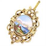 PEARL AND PAINTED ENAMEL MINIATURE PENDANT in high carat yellow gold, set with pearls and