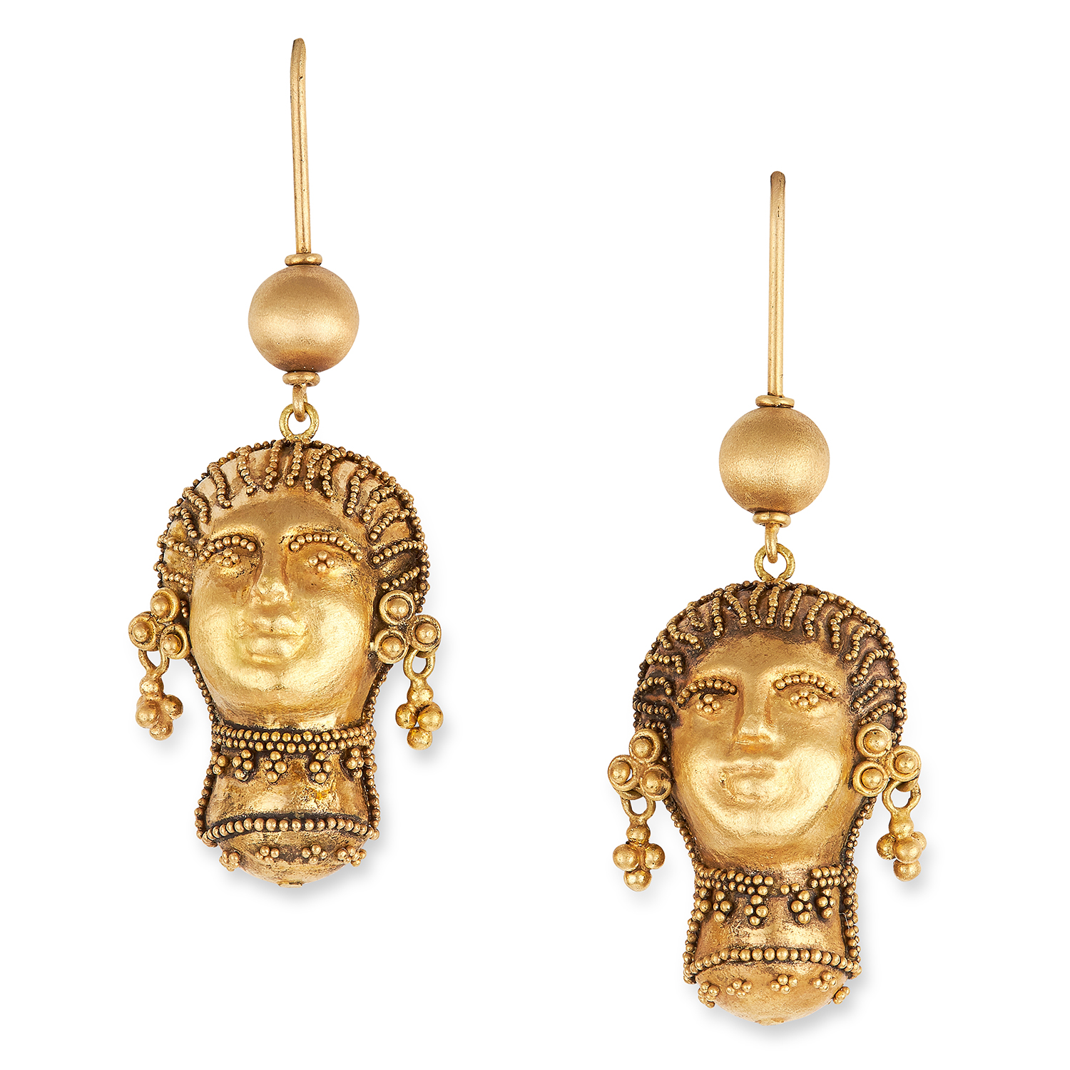 ANTIQUE ETRUSCAN REVIVAL EARRINGS in high carat yellow gold, in Etruscan revival form depicting