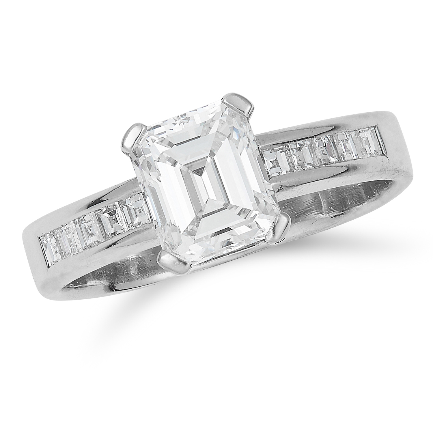 1.23 CARAT DIAMOND DRESS RING in 18ct white gold, set with an emerald cut diamond of approximately