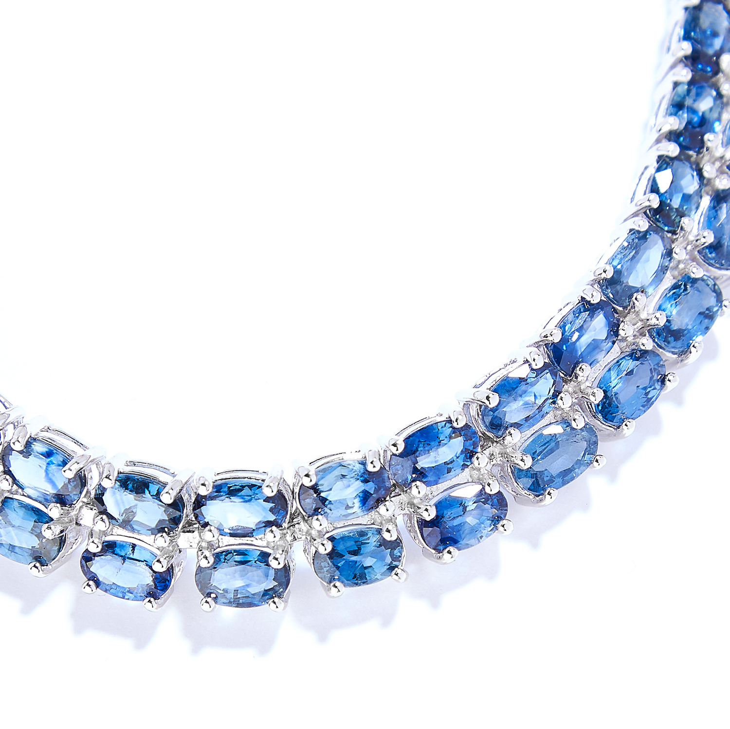 SAPPHIRE AND DIAMOND LINE BRACELET in sterling silver, comprising of two rows of oval cut - Image 2 of 2
