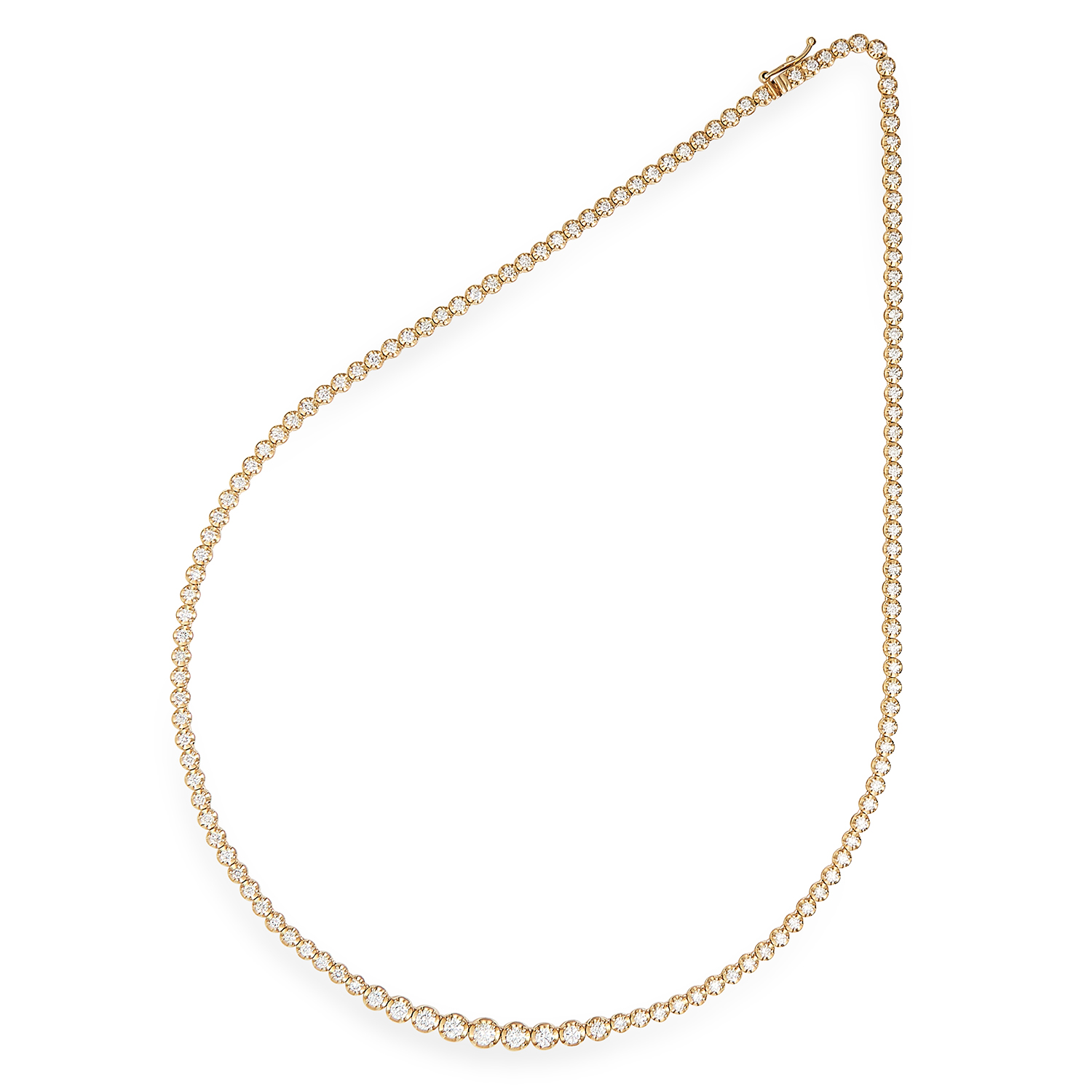 3.00 CARAT DIAMOND RIVIERA NECKLACE in 18ct yellow gold, set with round cut diamonds totalling