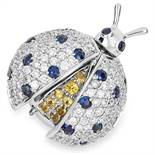 SAPPHIRE AND DIAMOND BUG BROOCH in 18ct white gold, set with round cut diamonds totalling