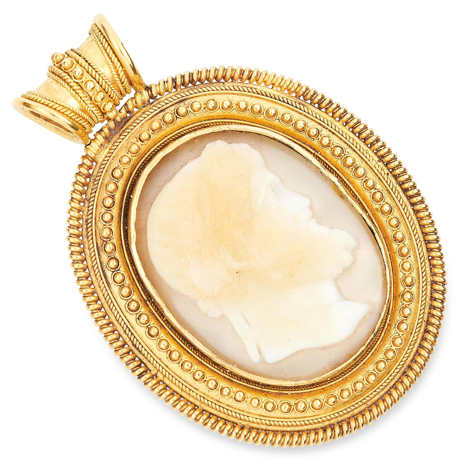 ANTIQUE CARVED CAMEO PENDANT in high carat yellow gold, in Etruscan revival form set with a carved