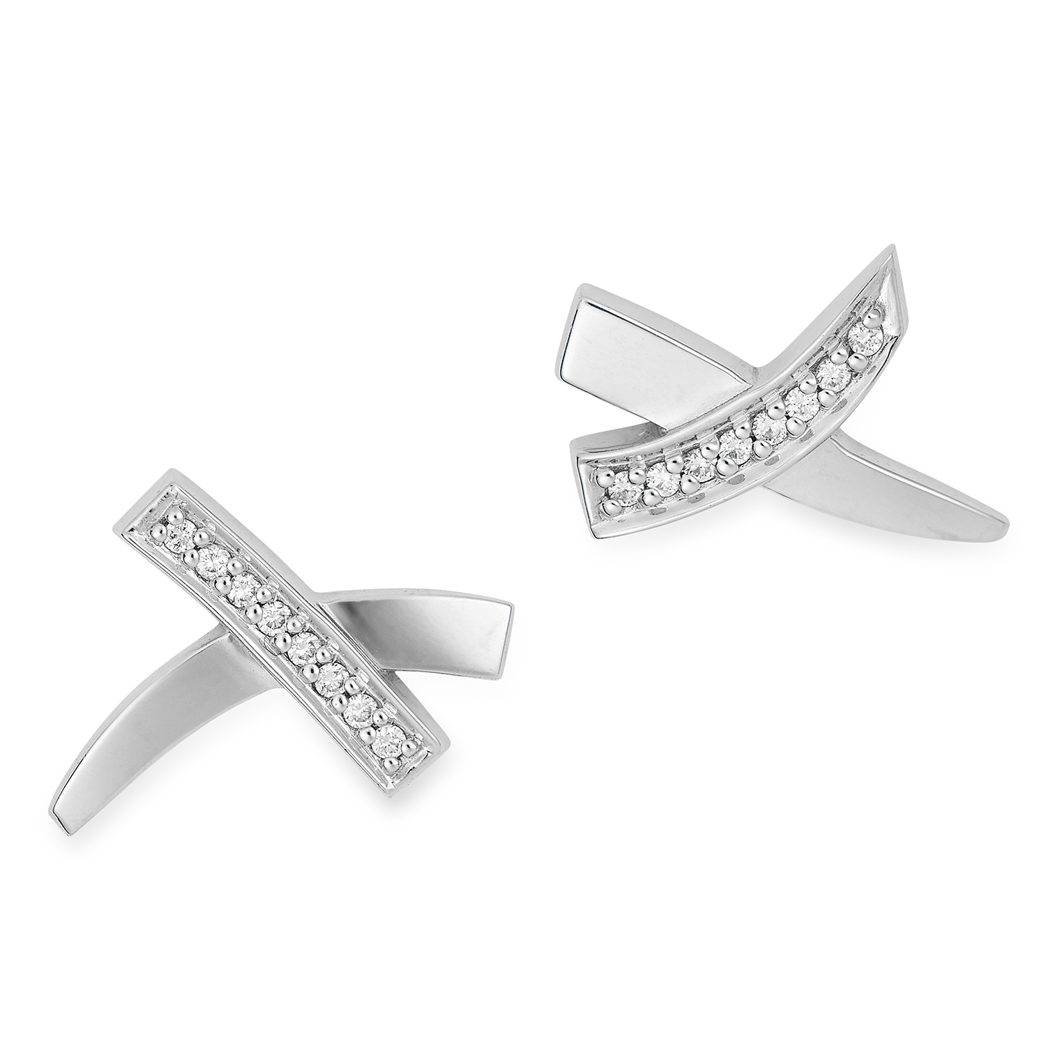 0.16 CARAT DIAMOND KISS EARRINGS, PALOMA PICASSO FOR TIFFANY AND CO in 18ct white gold, set with