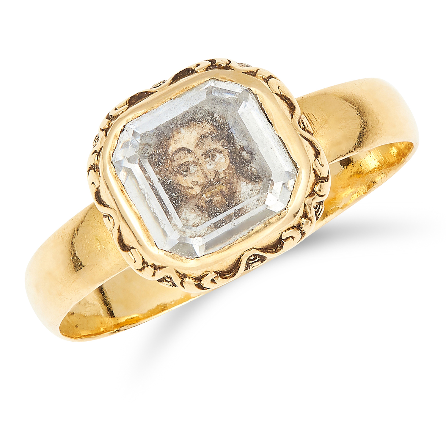 ANTIQUE STUART CRYSTAL MEMENTO PORTRAIT MINIATURE RING, 17TH CENTURY in yellow gold, set with a