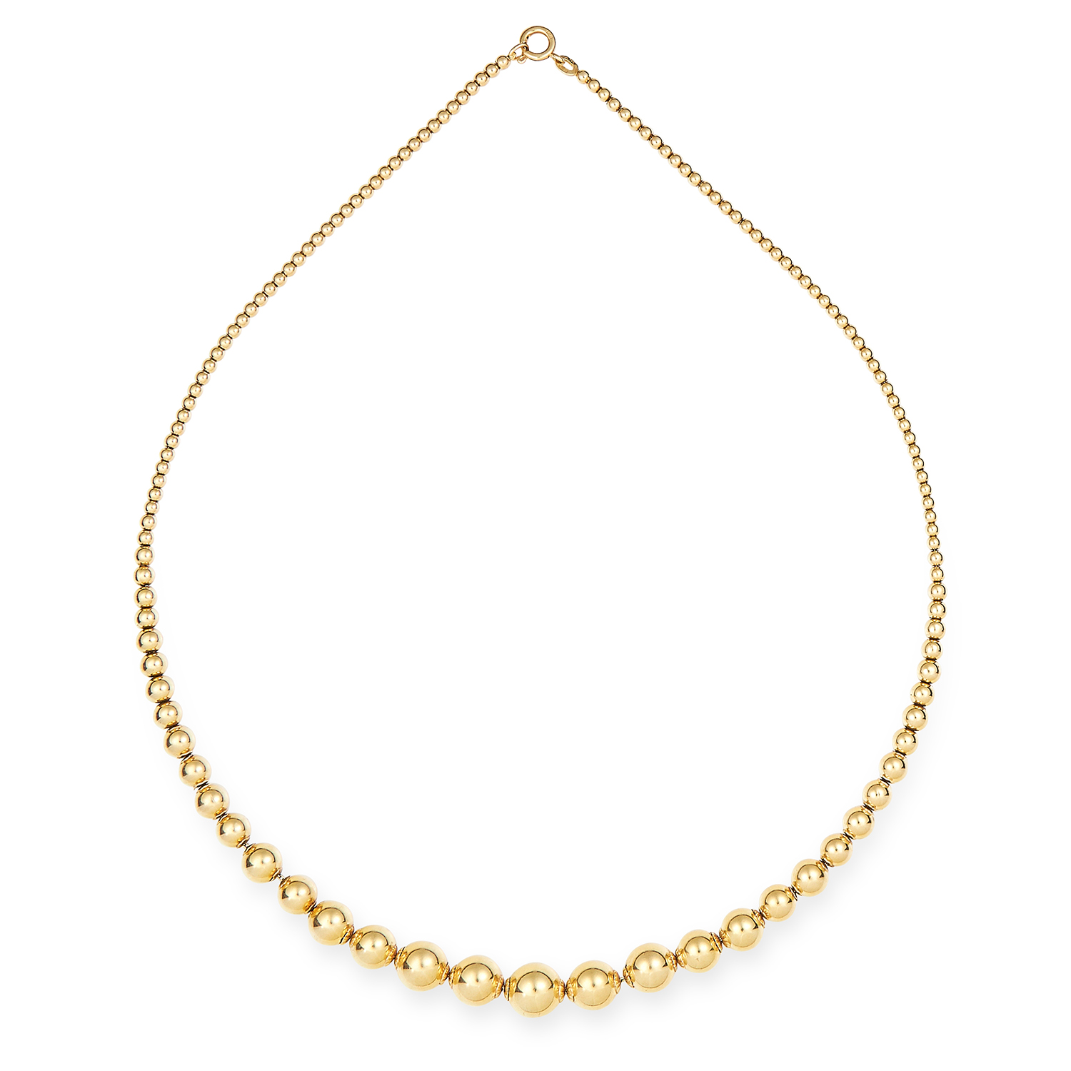 GOLD BEAD NECKLACE in 18ct yellow gold, formed of graduating gold beads, stamped 750, 48.5 cm, 23.