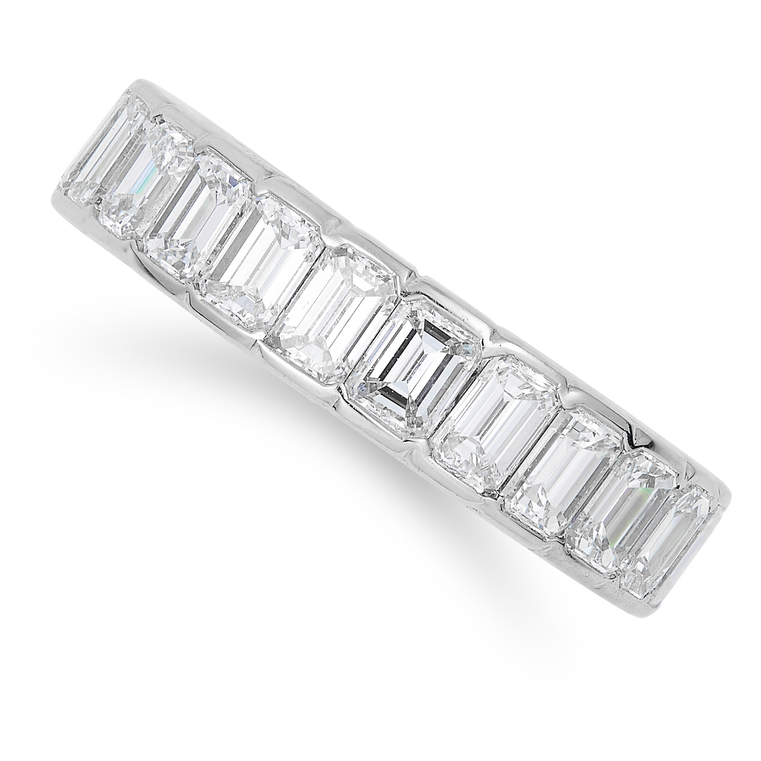 4.00 CARAT DIAMOND ETERNITY BAND in 18ct white gold or platinum, set with emerald cut diamonds
