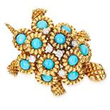 VINTAGE TURQUOISE AND DIAMOND TURTLE BROOCH in 18ct yellow gold, set with cabochon turquoise and