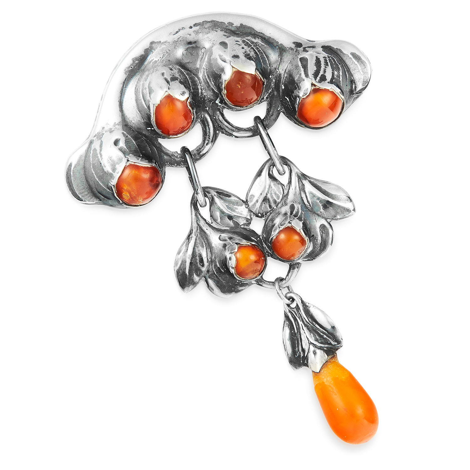 AMBER BROOCH, EVALD NIELSEN in sterling silver, set with cabochon amber and suspending an amber