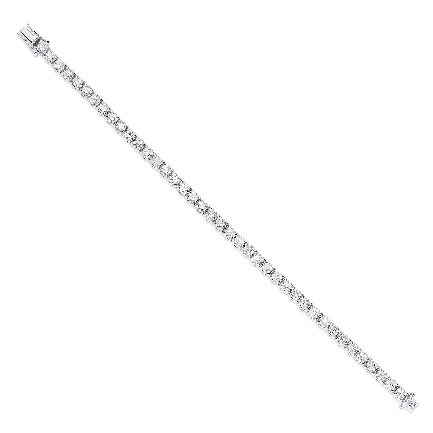 11.00 CARAT DIAMOND LINE BRACELET in 18ct white gold, set with round cut diamonds totalling