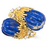LAPIS LAZULI AND DIAMOND RING, KUTCHINSKY in 18ct yellow gold, the twisted shank is set with two
