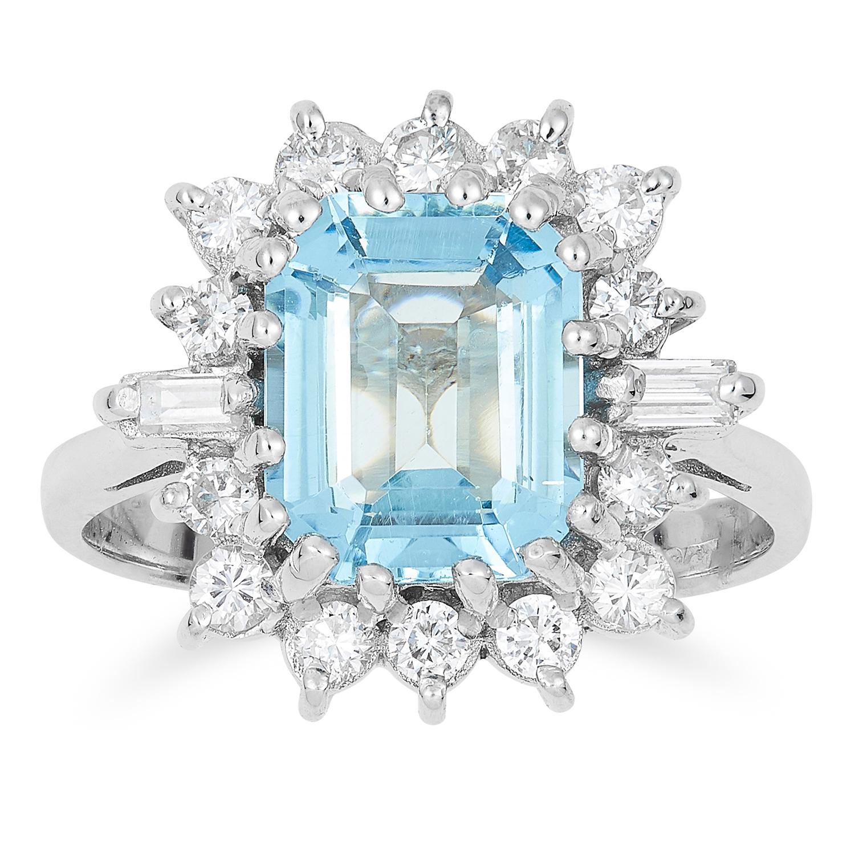 2.20 CARAT AQUAMARINE AND DIAMOND RING in 18ct white gold, set with an emerald cut aquamarine of