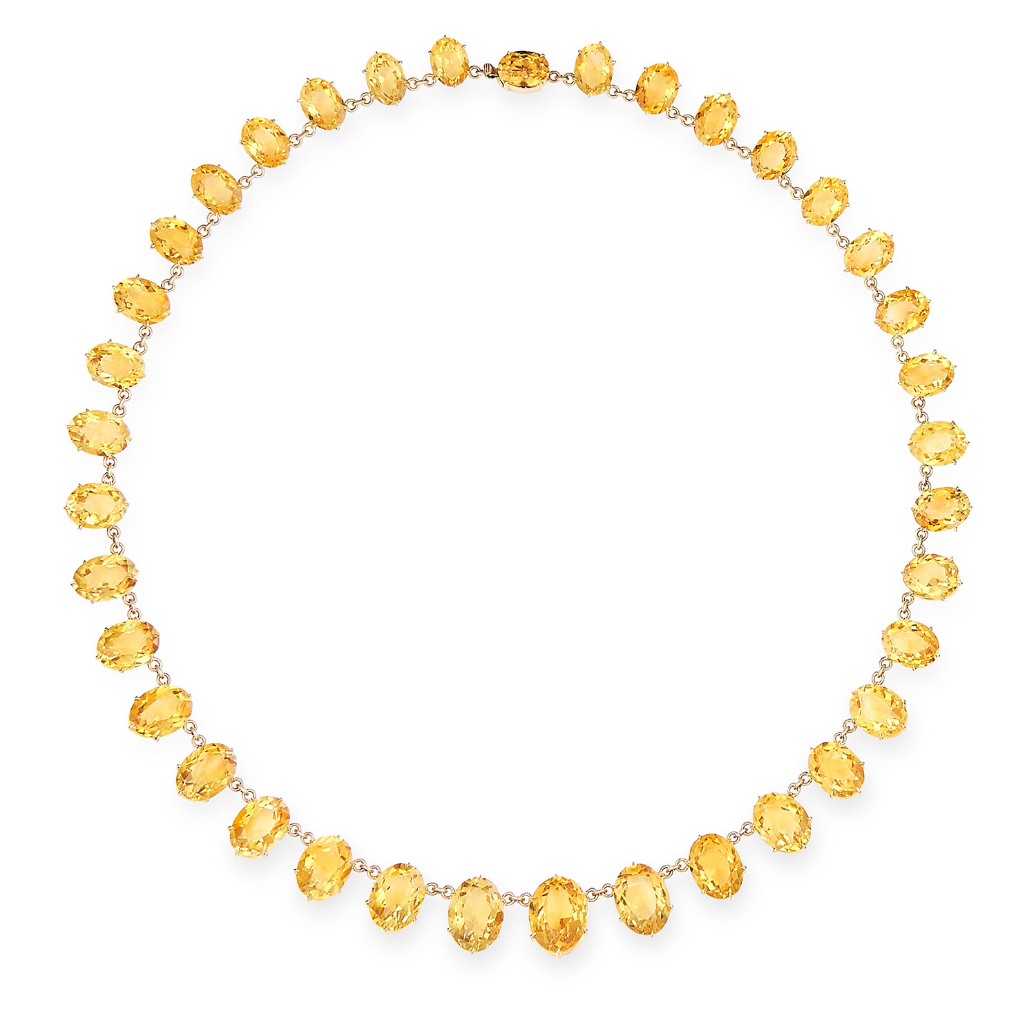ANTIQUE CITRINE RIVIERA NECKLACE in yellow gold, formed of graduating oval cut citrine links,