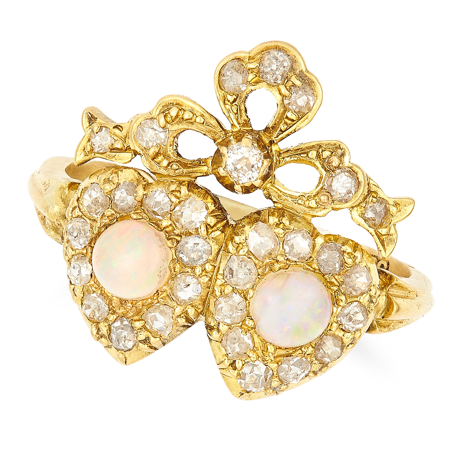 OPAL AND DIAMOND SWEETHEART RING in 18ct yellow gold, set with cabochon opals and old cut