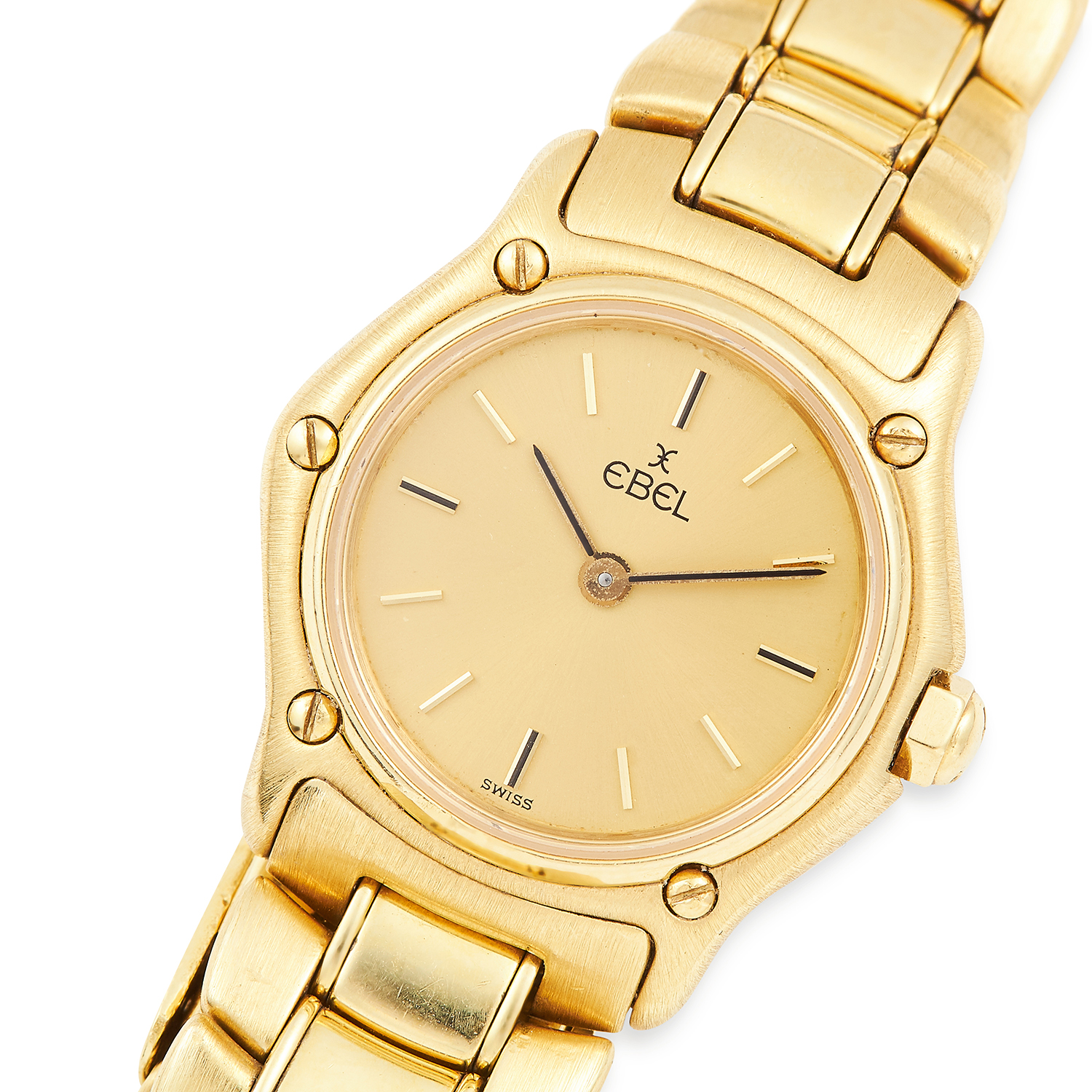 Los 257 - LADIES EBEL WAVE WRISTWATCH in 18ct yellow gold, 23mm case size, yellow gold strap, stamped 750,