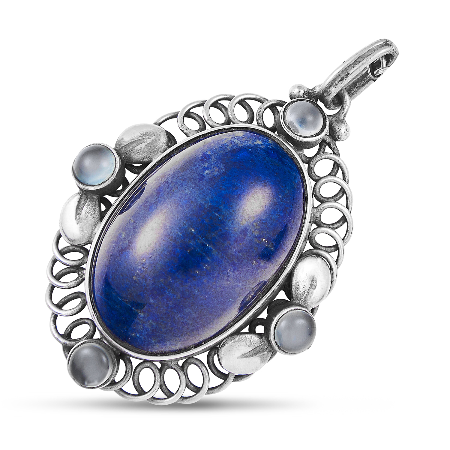 LAPIS AND LAZULI AND MOONSTONE PENDANT, GEORG JENSEN in sterling silver, set with a cabochon lapis