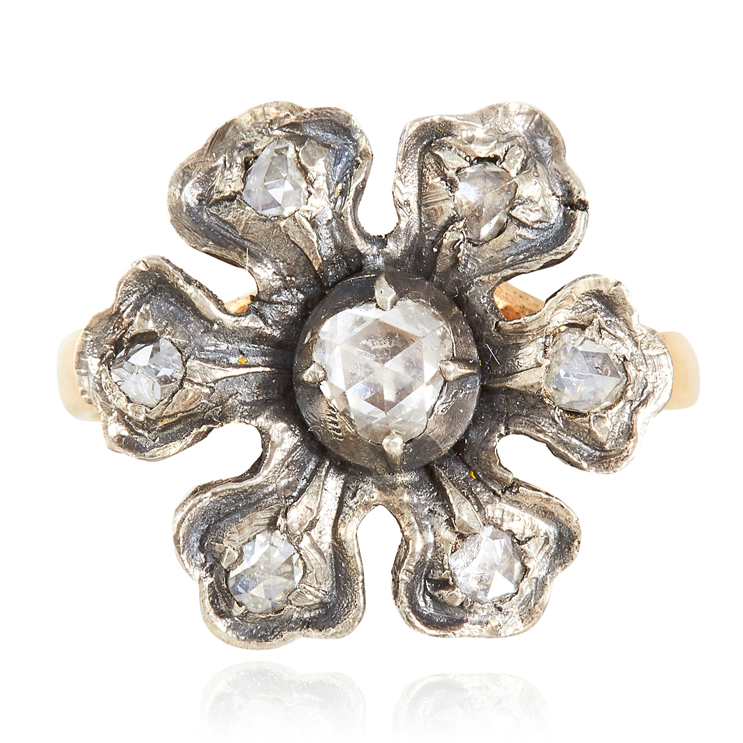 A DIAMOND RING in yellow gold, depicting a flower set with rose cut diamonds, unmarked, 4.52g.