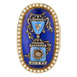 ANTIQUE ENAMEL, DIAMOND AND PEARL HAIRWORK MOURNING RING in yellow gold, set with blue enamel,