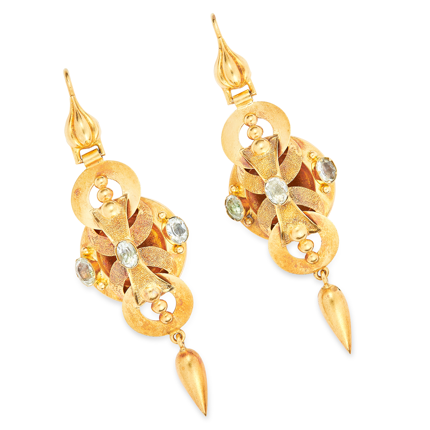 ANTIQUE VICTORIAN AQUAMARINE MOURNING EARRING AND BROOCH SUITE in high carat yellow gold, set with - Image 2 of 2