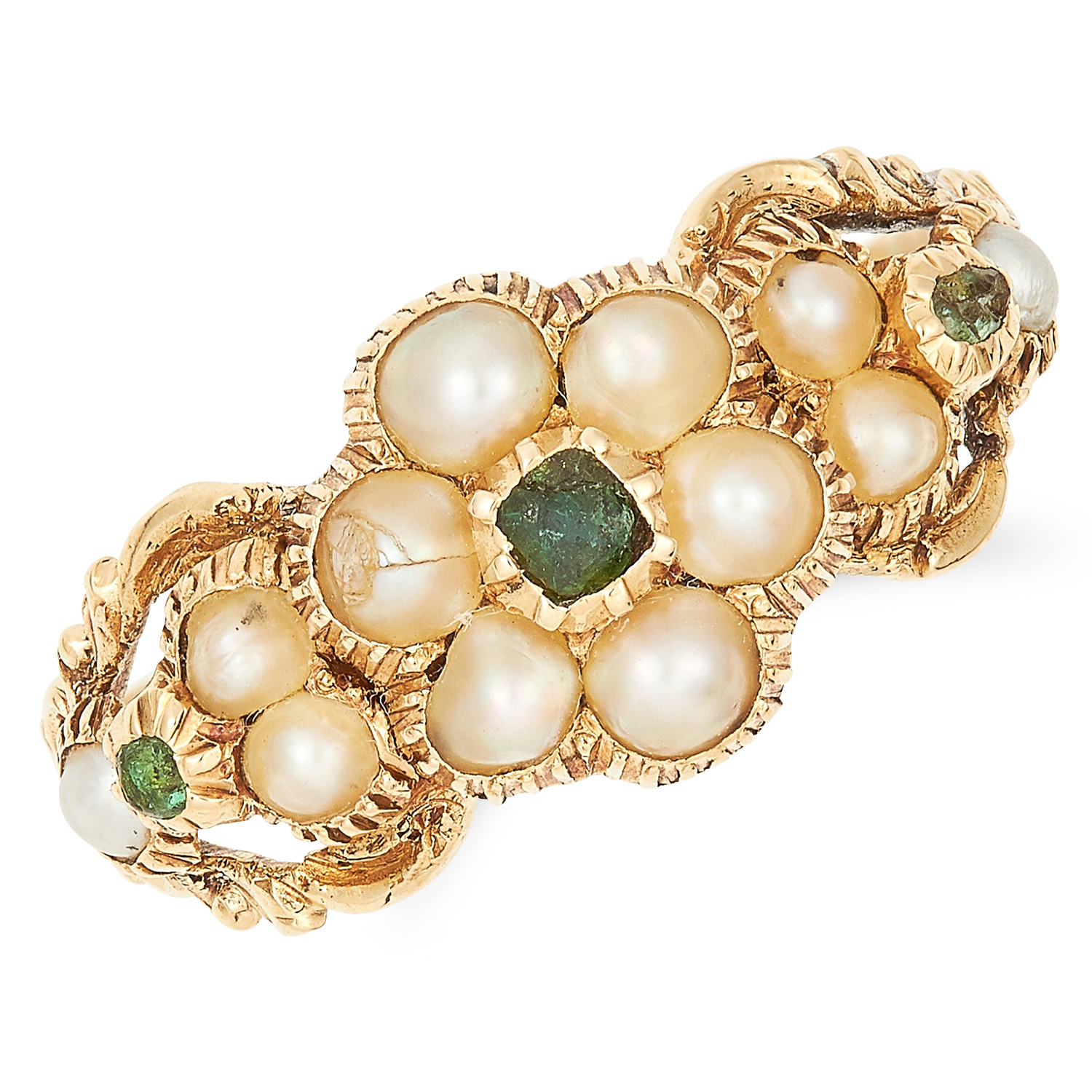 ANTIQUE VICTORIAN PEARL AND EMERALD RING in high carat yellow gold, set with seed pearls and cushion