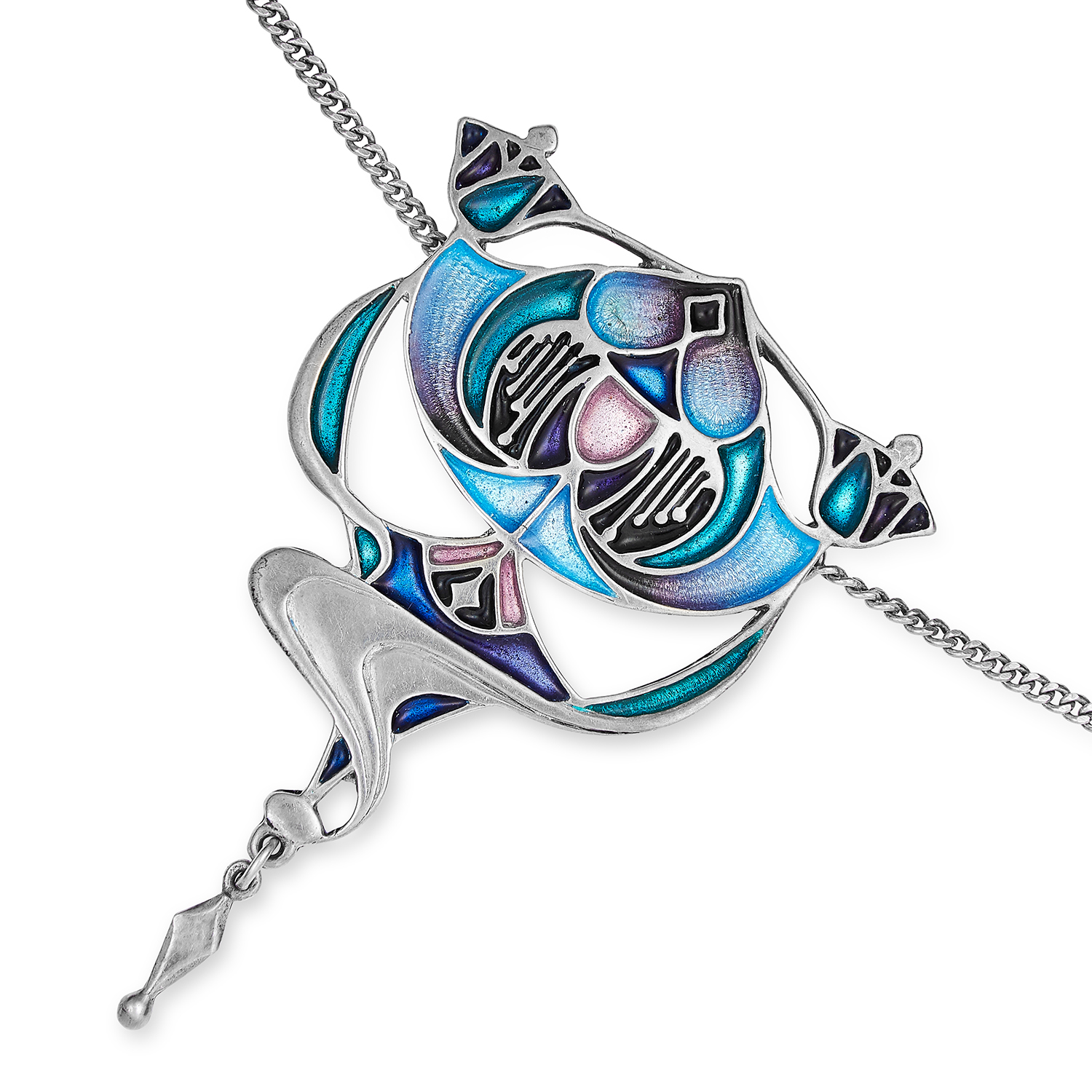 ART NOUVEAU ENAMEL PENDANT NECKLACE in silver, with black, purple and blue enamel, stamped 925,