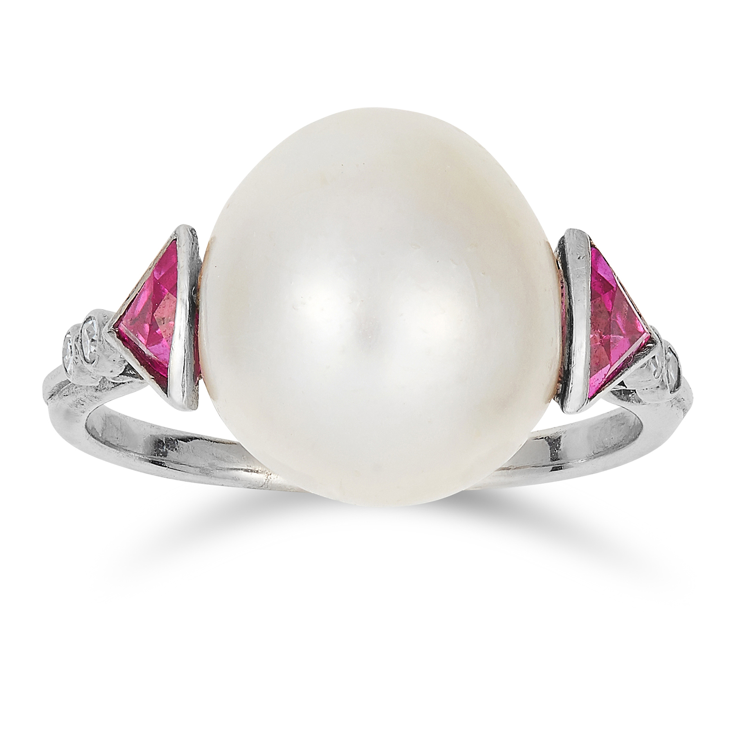 NATURAL SALTWATER PEARL, RUBY AND DIAMOND RING in 18ct white gold or platinum, comprising of a