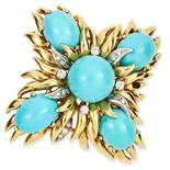 VINTAGE TURQUOISE AND DIAMOND BROOCH / PENDANT in 18ct yellow gold, set with cabochon turquoise