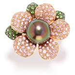 PEARL, PINK SAPPHIRE, DEMANTOID GARNET AND DIAMOND FLOWER RING in 18ct white gold, in the style of