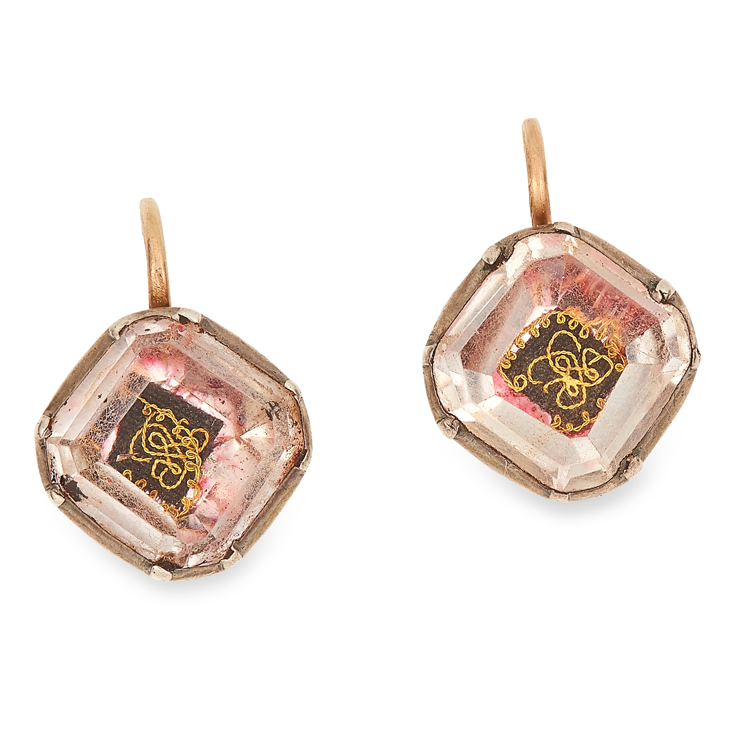 ANTIQUE 17TH CENTURY STUART CRYSTAL EARRINGS in yellow gold and silver, each set with a foiled