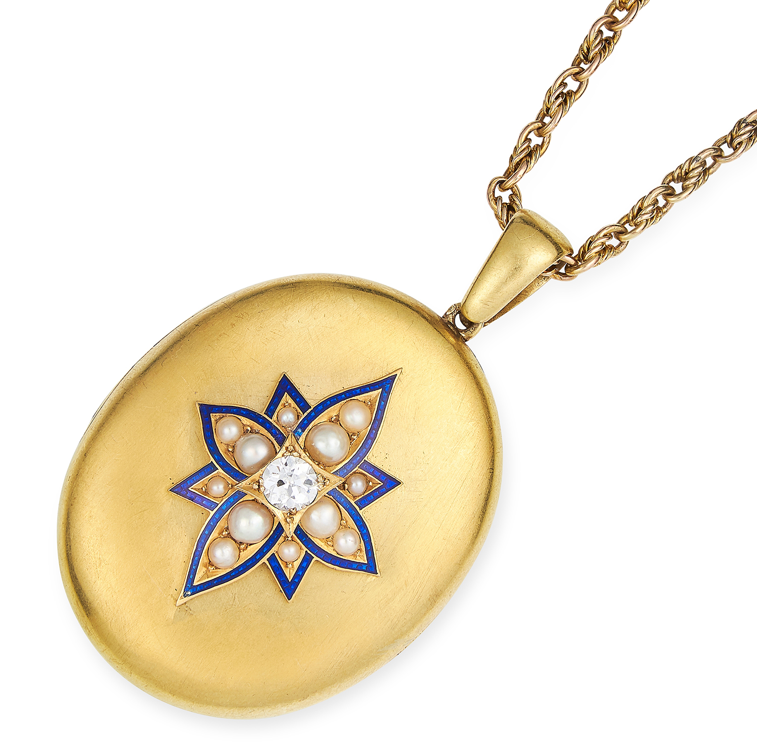 ANTIQUE VICTORIAN PEARL, DIAMOND AND ENAMEL LOCKET in high carat yellow gold, set with a round cut