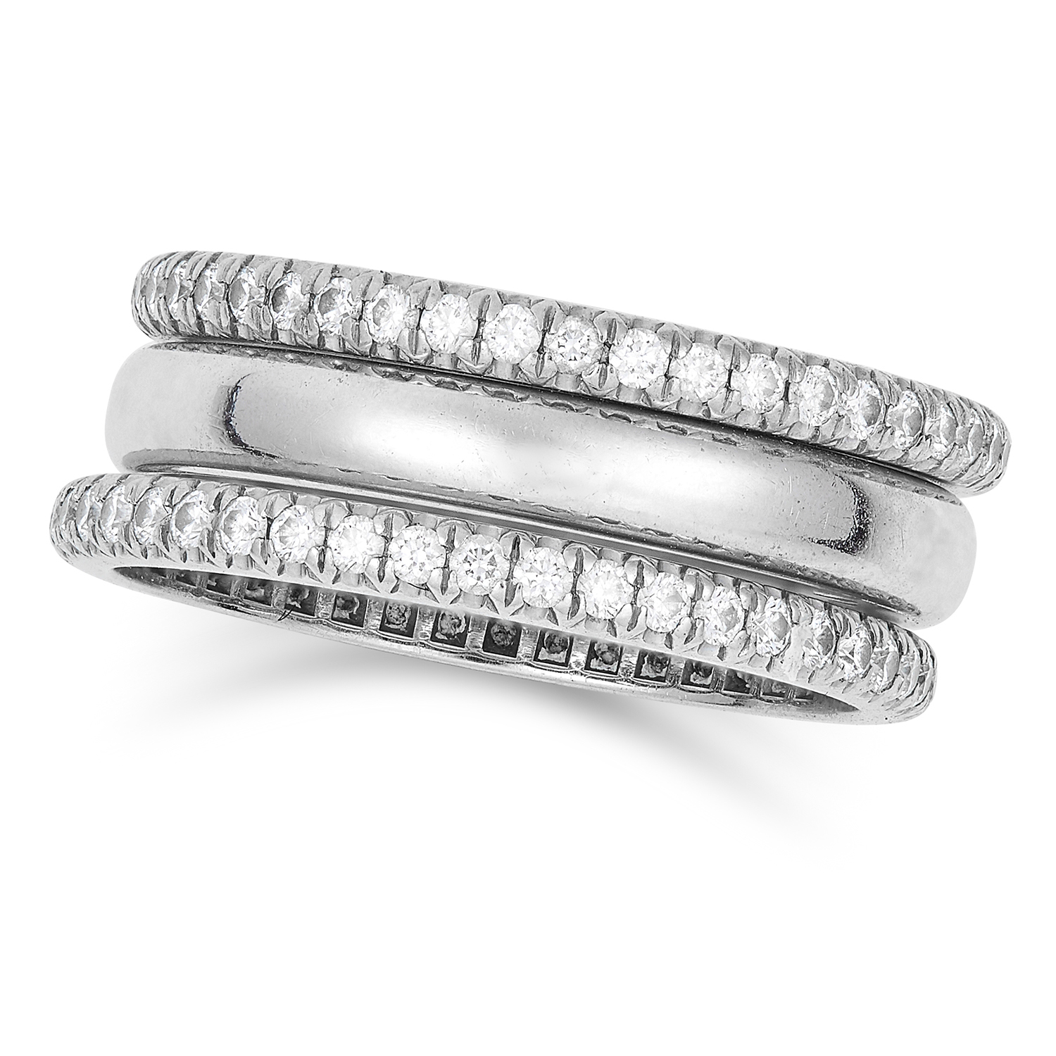 DIAMOND RING SET, TIFFANY in platinum, comprising of two round cut diamond eternity bands and one
