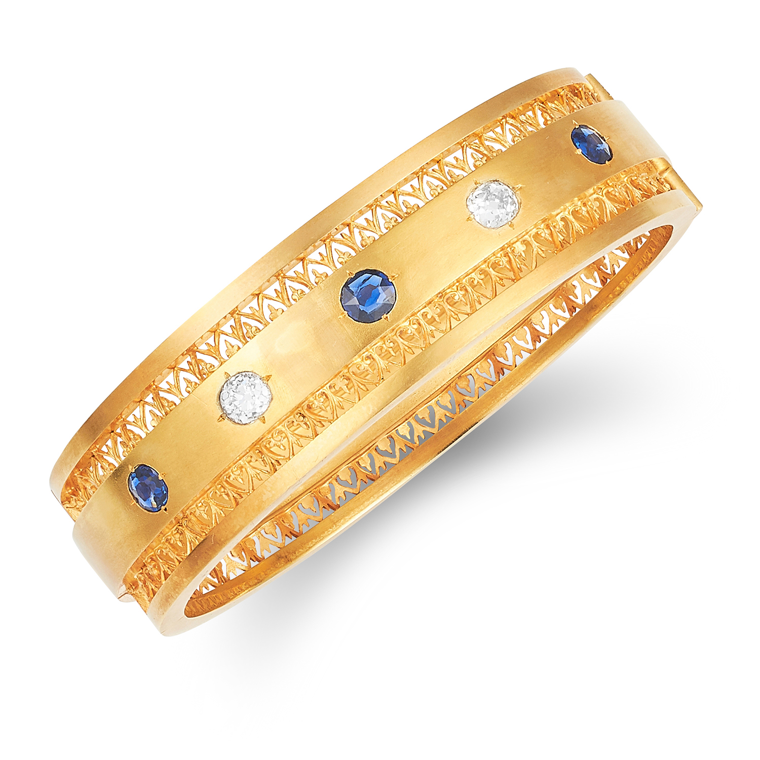 ANTIQUE VICTORIAN SAPPHIRE AND DIAMOND BANGLE in high carat yellow gold, in Etruscan revival form