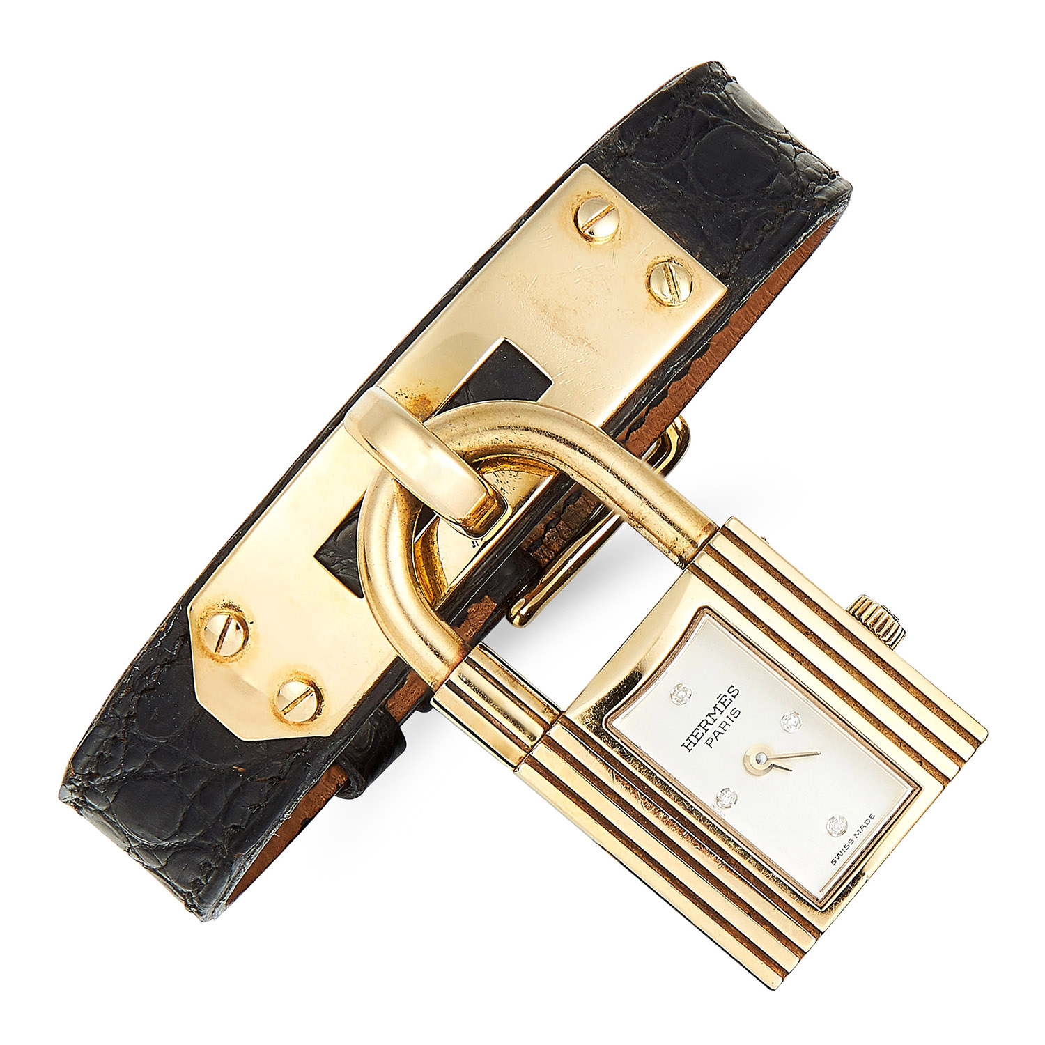 Los 263 - KELLY BAG DIAMOND AND LEATHER PADLOCK WATCH, HERMES in 18ct yellow gold, designed as a padlock