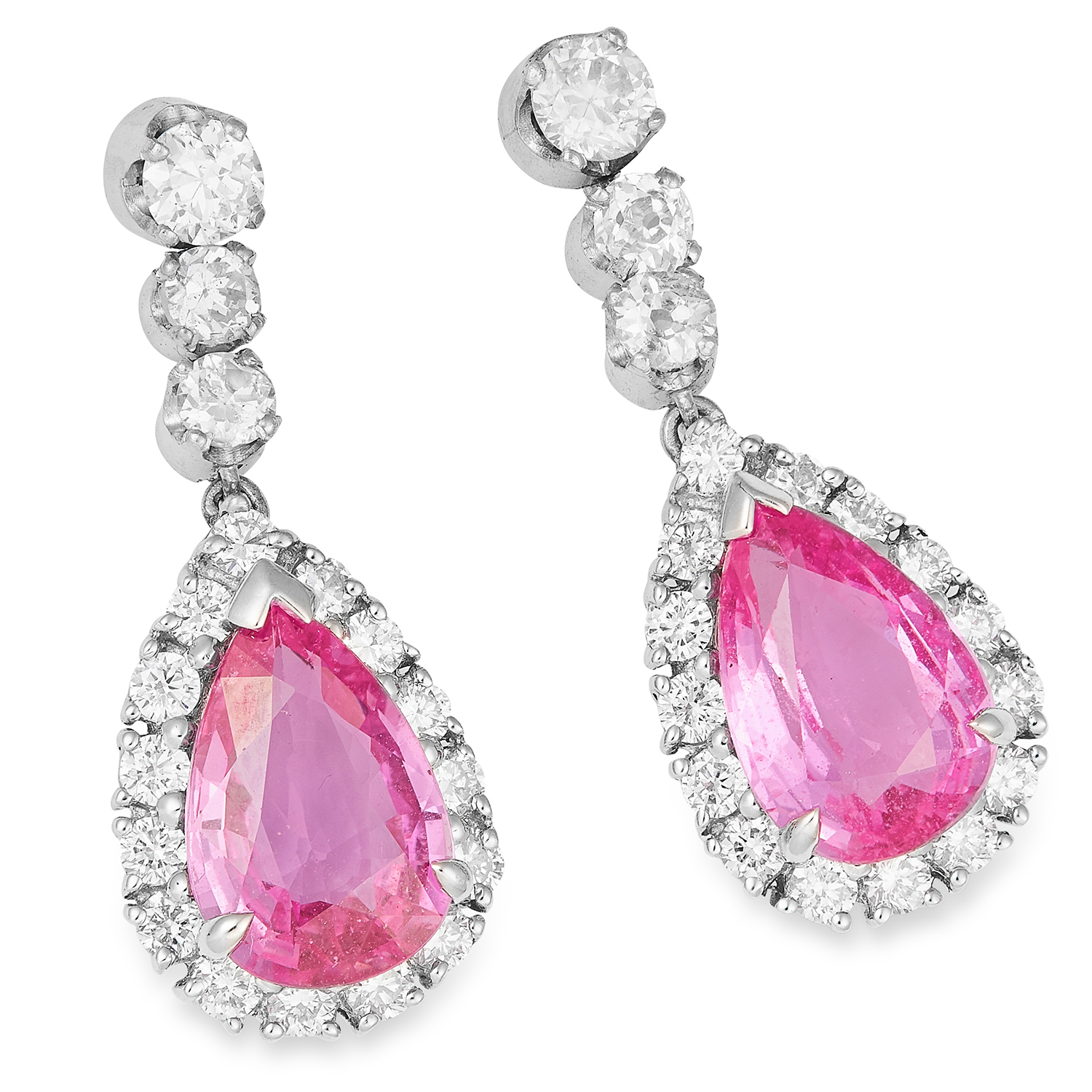 4.20 CARAT PINK SAPPHIRE AND DIAMOND EARRINGS in 18ct white gold, each set with a pear cut