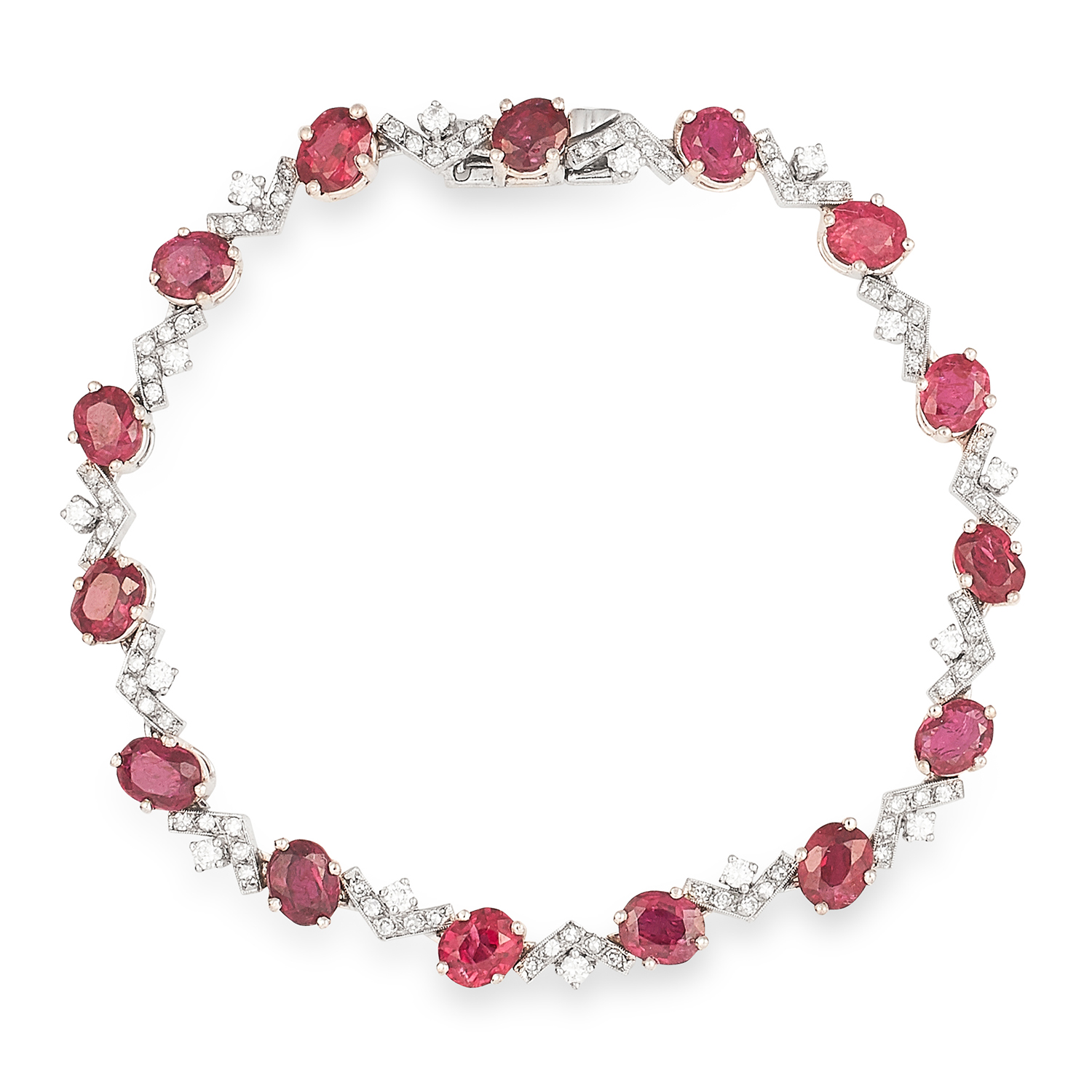 10.50 CARAT UNHEATED RUBY AND DIAMOND BRACELET in 18ct white gold or platinum, set with oval cut