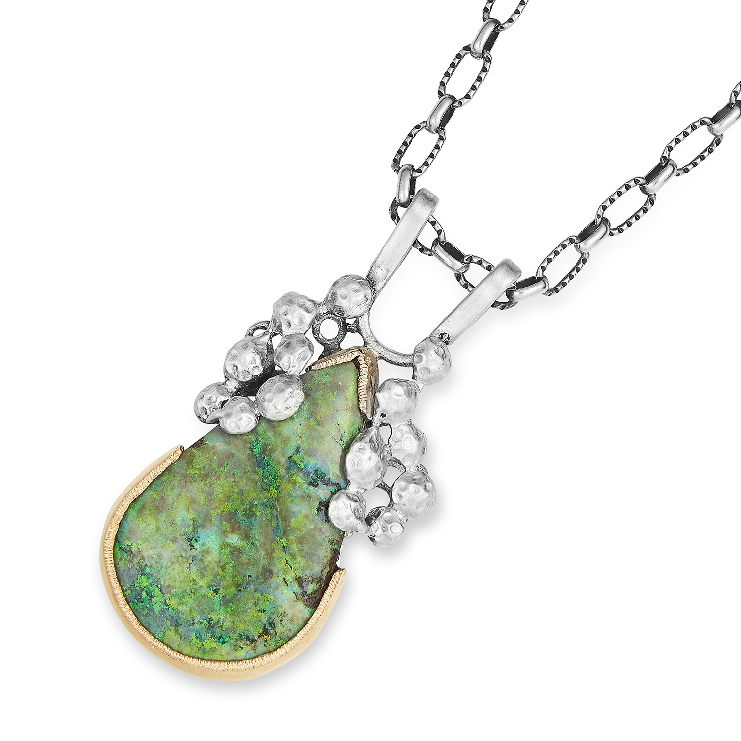 ABSTRACT OPAL PENDANT NECKLACE in silver, set with a 21.69 carat pear cut opal, stamped 935,