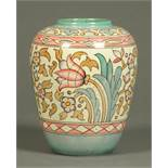 A Charlotte Rhead Bursley ware vase, tube lined and decorated with bellflower and other foliage.