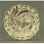 A Royal Doulton silver lustre dished plate, early 20th century,