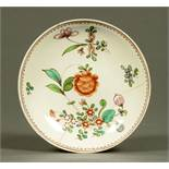 A Liverpool saucer, polychrome, decorated with peony roses. diameter 13 cm.