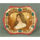 A Vienna porcelain cabinet bowl, decorated with a female portrait bust,