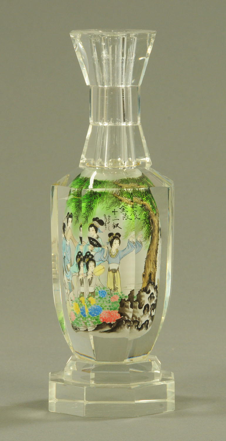 A Chinese interior painted glass bottle, 20th century, of hexagonal form, with waisted neck,