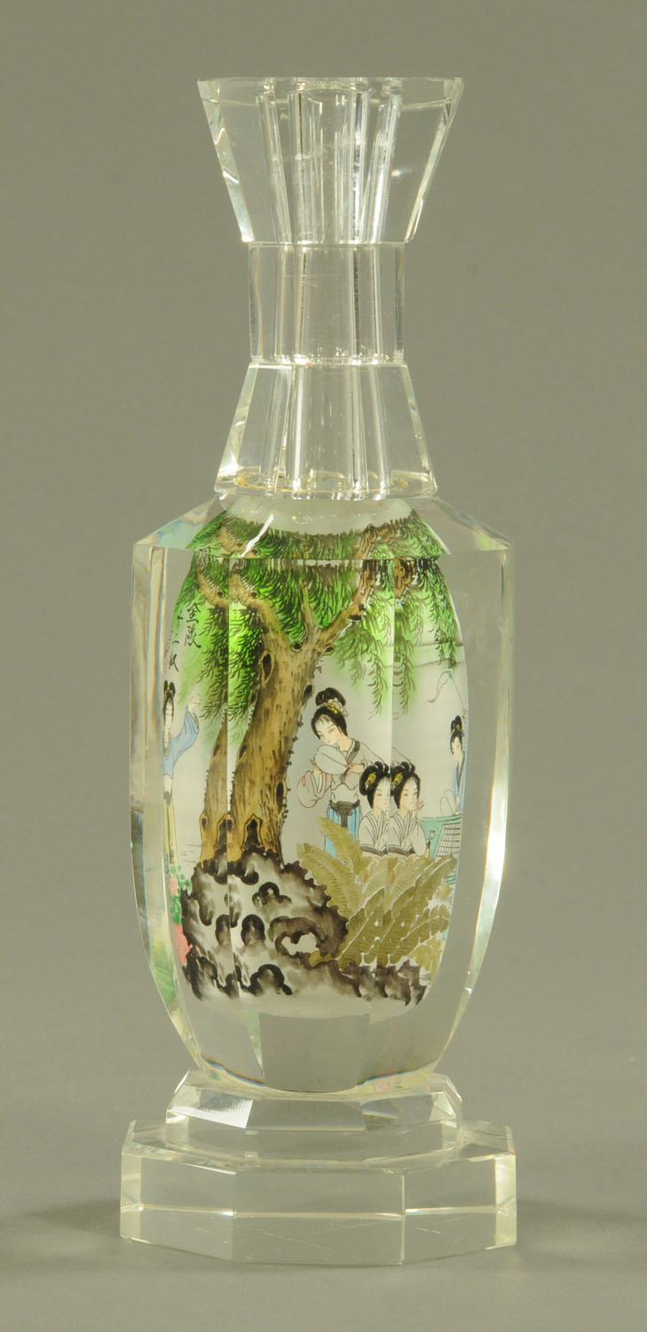 A Chinese interior painted glass bottle, 20th century, of hexagonal form, with waisted neck, - Image 4 of 10