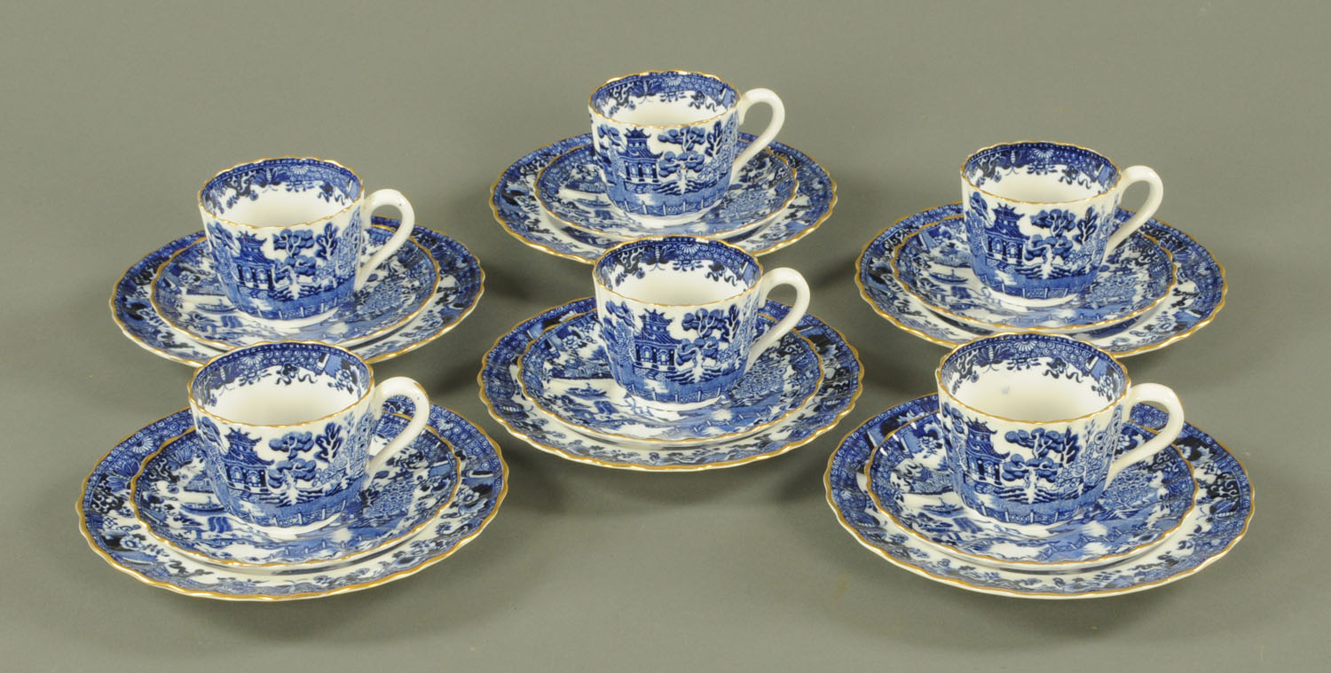 A Copeland's china 6 place blue and white willow pattern tea set, late 19th century, - Image 2 of 2