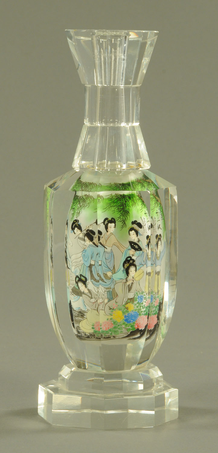 A Chinese interior painted glass bottle, 20th century, of hexagonal form, with waisted neck, - Image 3 of 10