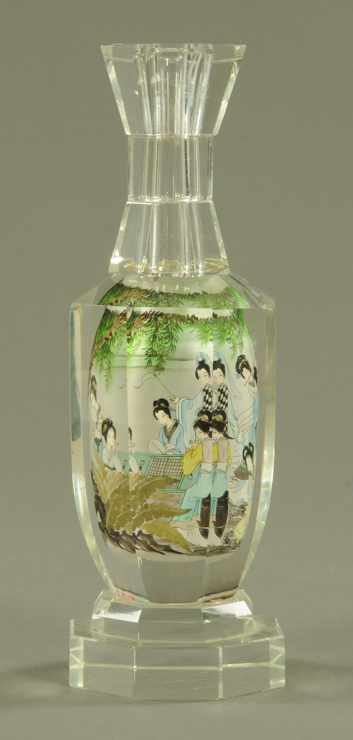 A Chinese interior painted glass bottle, 20th century, of hexagonal form, with waisted neck, - Image 5 of 10