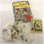 "A Stanley Gibbons vintage ""Gay Venture"" stamp album and loose world stamps."