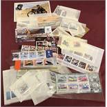 A quantity of Isle Of Man transport, racing and aviation collectors stamp sets and mini sheets.