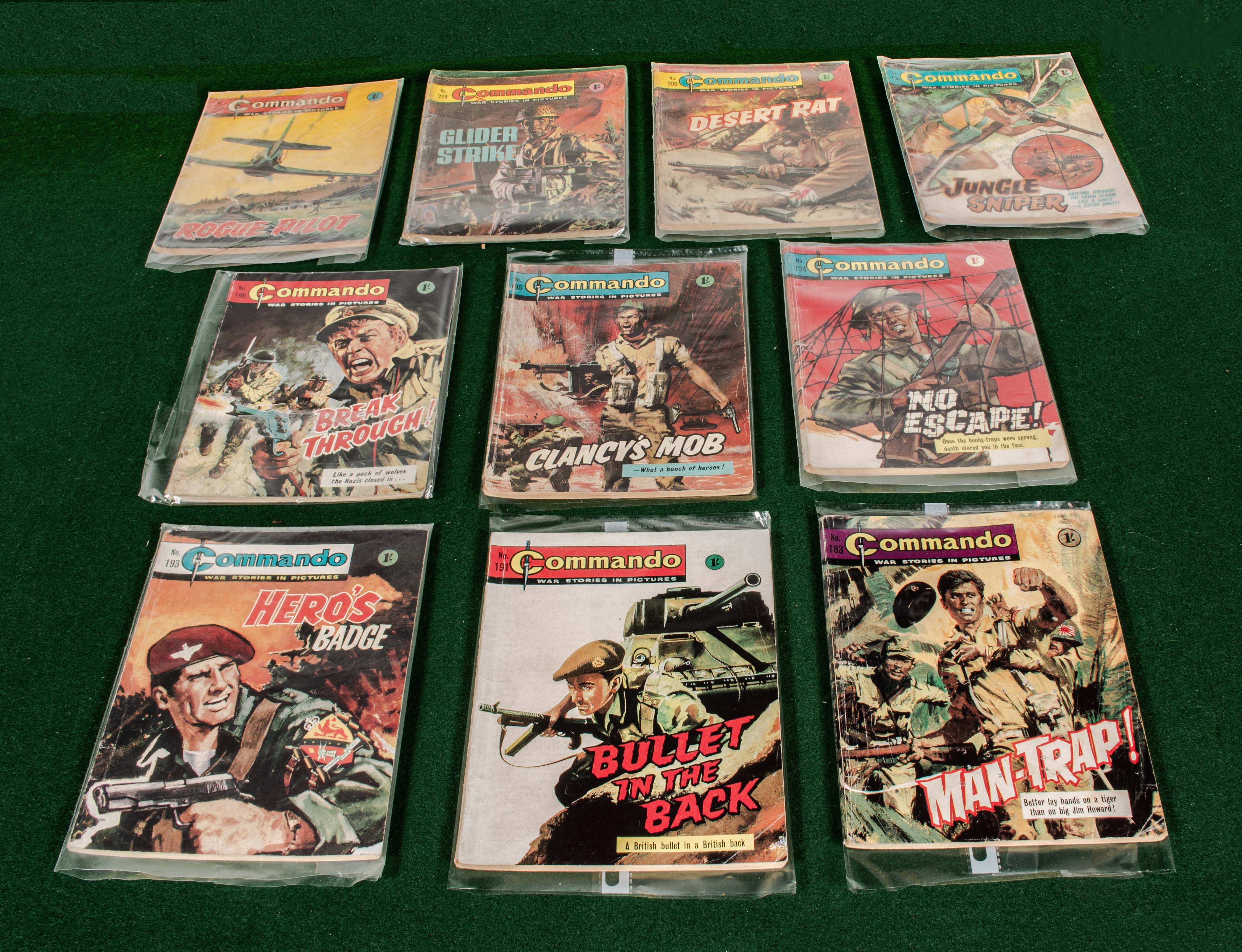 Lot 84 - 10 early 1960s Commando comics 155, 183, 191, 193, 194, 195, 196, 200, 218, 219