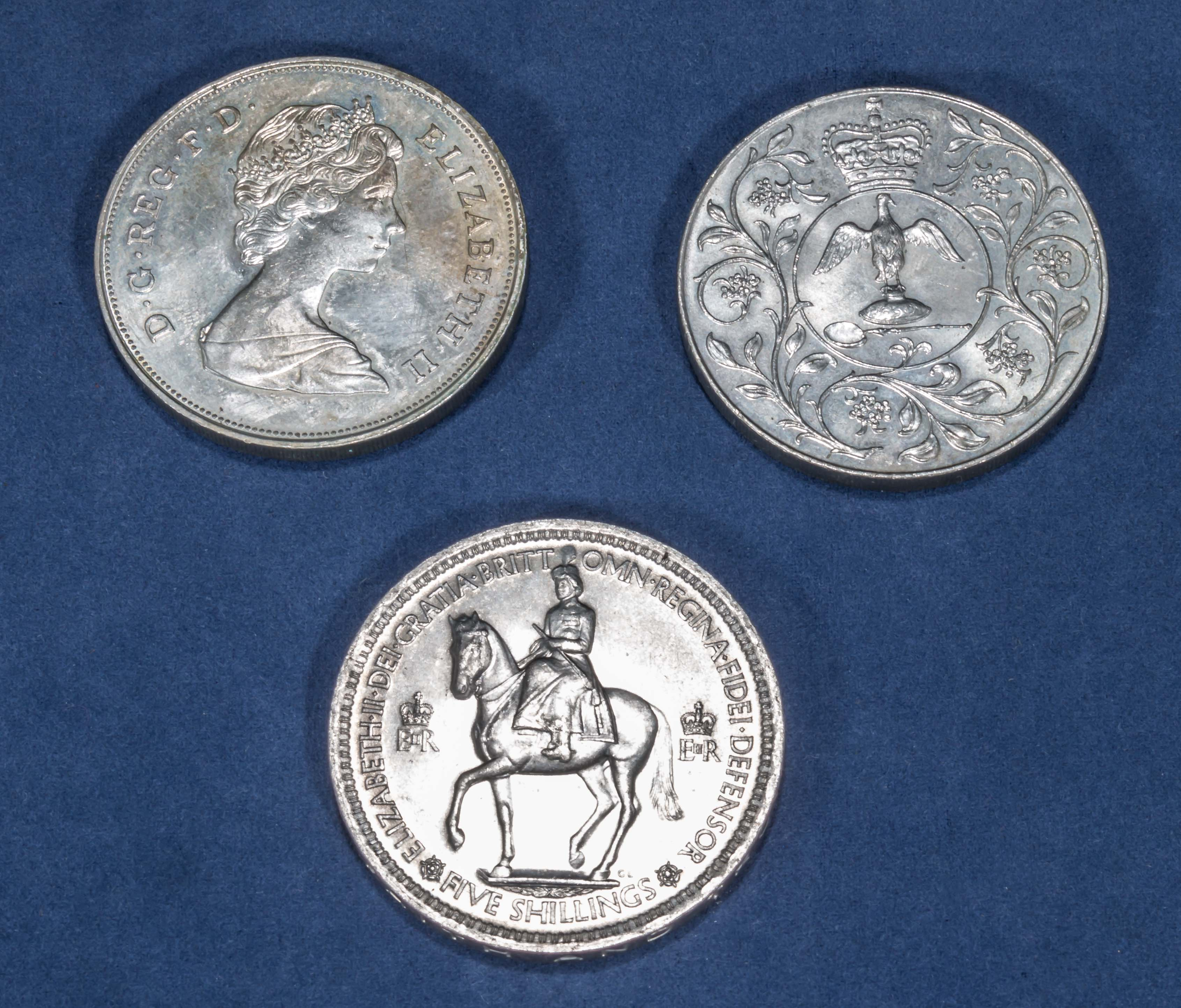 Lot 233 - A 1981 Charles and Diana crown, 1977 silver jubilee crown and a 1965 five shilling piece