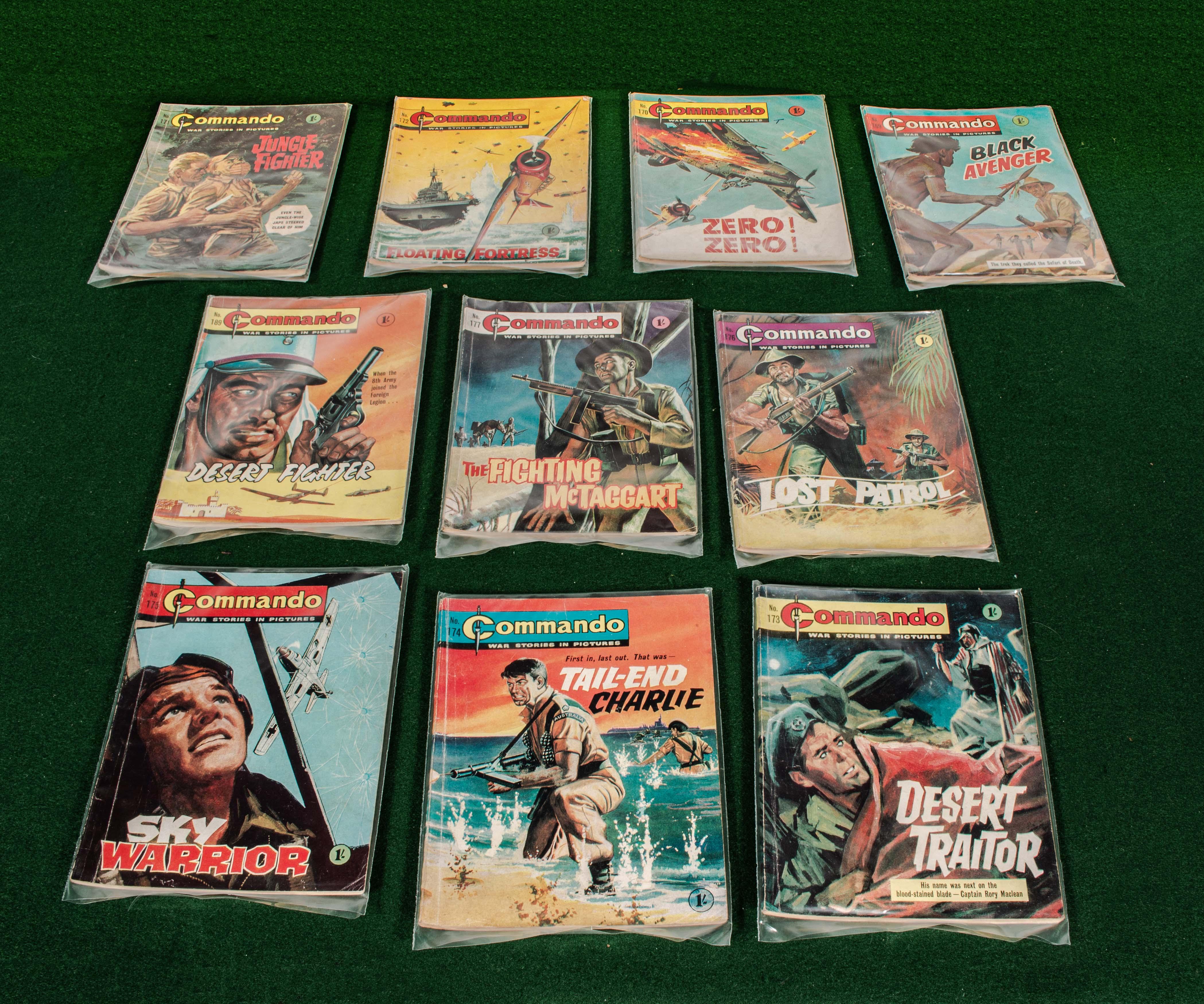 Lot 83 - 10 early Commando comics 169/177 & 189 1960s